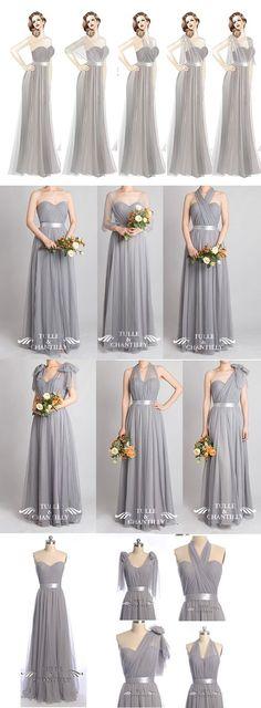 Grey wedding color ideas - Tulle Convertible Medium Grey Multi-wear Convertible…