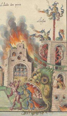 """Interessante raffigurazione dell'Inferno sotto forma di edifici o città; in genere, nelle immagini del Giudizio Universale, la città è la città sacra, mentre l'inferno è nelle viscere della terra.  Forse una premonizione del carattere demoniaco delle moderne metropoli, che fece vedere in Blake dei """"dark satanic mills"""" in Londra?  Le mister par personages de la vie, passion, mort, resurrection et assention de Nostre Seigneur Jesus Christ, 1547"""