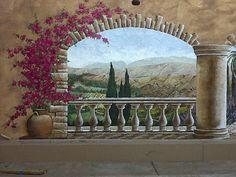 Outdoor Tuscan Pool Side - Close-up left - Mural Idea in Buena Park CA Outdoor Art, Outdoor Walls, Outdoor Living, Garden Painting, Sea Art, Contemporary Wall Art, Wall Murals, Backyard, Drawings