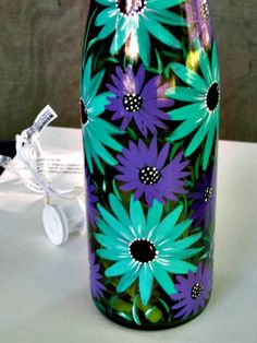 Wine Bottle Light, Night Light, Hand Painted Wine Bottle, Green Wine Bottle with Teal and Purple Flowers Painted Glass Bottles, Lighted Wine Bottles, Bottle Lights, Bottle Lamps, Wine Bottle Art, Wine Bottle Crafts, Mason Jar Crafts, Recycled Bottle Crafts, Different Types Of Wine