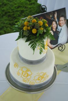 Grey and Yellow cake