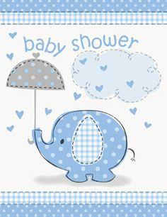 BABY SHOWER BLUE UMBRELLAPHANTS INVITATIONS