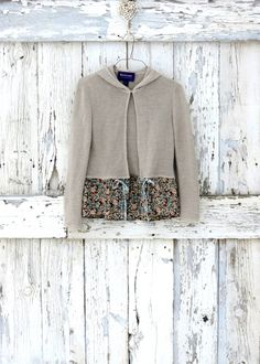 All Tied Up Hoodie Cardigan upcycled natural floral boho sweater hoodie eco friendly beige taupe brown cardigan. $37.99, via Etsy.