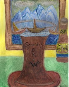 Watercolor of a large beer glass with head foam and the ships from outside the window seem to be climbing on top it....an illusion painting - was fun to make. That's what painting and photography is all about...having fun creating!