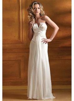 Amazing A-line Strapless Satin and Chiffon Long Dress