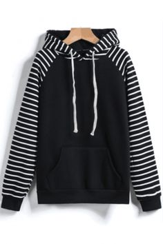 Black Hooded Long Sleeve Pockets Striped Sweatshirt – abadaycom - Under Wear Latest Street Fashion, Korean Fashion, Mode Kawaii, Cool Outfits, Fashion Outfits, Tomboy Outfits, Punk Fashion, Lolita Fashion, Stylish Outfits