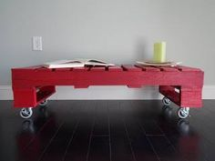 a red trolley dinner table from pallets