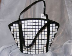 MAD Style Black & White Mother of Pearl & Natural Horn Soft Tote, NEW with tag