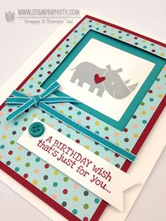Stampin up Mary Fish, Zoo Babies' Rhino Fit for Framing