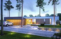 Projekt TFT-714 to parterowy dom z płaskim dachem. Budynek wyróżnia zdecydowanie nowoczesna forma oraz czytelny układ wnętrza z podziałem na otwartą część dzienną i intymną sypialną. Elewację ogrodową stanowi transparentny pas dużych przeszkleń otwierających wnętrze na taras i ogród. Villa, Modern House Design, Home Projects, Modern Architecture, House Plans, 1, Real Estate, Patio, Mansions