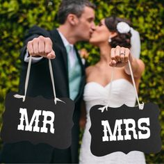 Bride and Groom Chair Signs  Mr and Mrs   Mr and by YouLoveYouShop