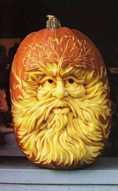 The Green Man pumpkin carving via The Pink Cauldron