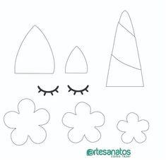 Molde de Unicórnio para Imprimir: feltro, EVA, papel #unicorncrafts Molde de Unicórnio para Imprimir: feltro, EVA, papel