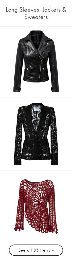"""""""Long Sleeves, Jackets & Sweaters"""" by daddyskittkatt ❤ liked on Polyvore featuring outerwear, jackets, vegan jackets, faux-leather moto jackets, vegan motorcycle jacket, vegan biker jacket, zip jacket, black, blazer and tops"""