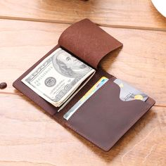 Men's Slim Bifold Craze Horse Leather Wallet Money Clip Credit Card Holder  #Unbranded #BusinessClassic