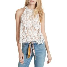 Women's Free People Sweet Meadow Dreams Lace Top (€63) ❤ liked on Polyvore featuring tops, ivory, high-neck tops, see through tops, white sheer top, high-neck lace tops and high neckline crop top