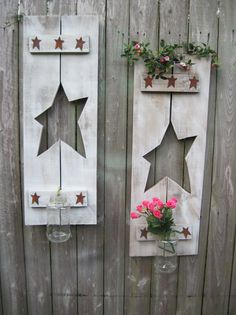 Rustic Stars @Sharon Macdonald Macdonald Anderson, these are like your other vases, you could even paint the star instead of cutting it.