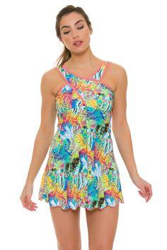 BPassionit Women's Spring Fling Print Crossover Tennis Dress