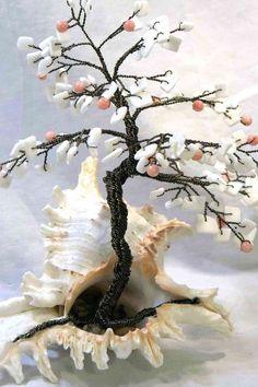 Murex Coral Beaded Bonsai - Ming Tree. $42.00, via Etsy.