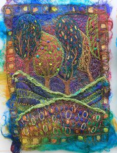 trees, embroidery by Michelle Mischkulnig (Australia)