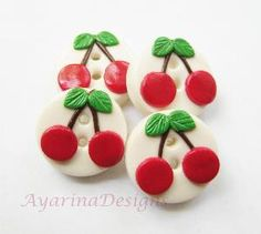 Cherry - Set Of 4 Polymer Clay Buttons