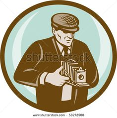 vector illustration of a Photographer with hat aiming retro vintage camera done in retro style #photographer #retro #illustration