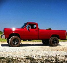 Classic red Ford pickup
