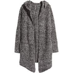 H&M Cardigan in a wool blend ($45) via Polyvore featuring tops, cardigans, black, hooded top, h&m tops, long sleeve tops, black long sleeve top and black top