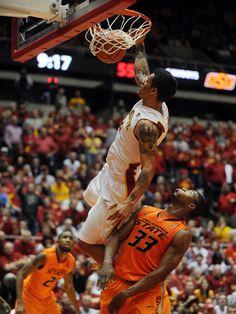 Men's Basketball - Iowa State's Chris Babb dunks over Oklahoma State's Marcus Smart at Hilton Coliseum. Ames Tribune