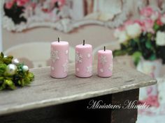 Miniature Dollhouse Christmas Candles 3 Pieces Set  by Minicler