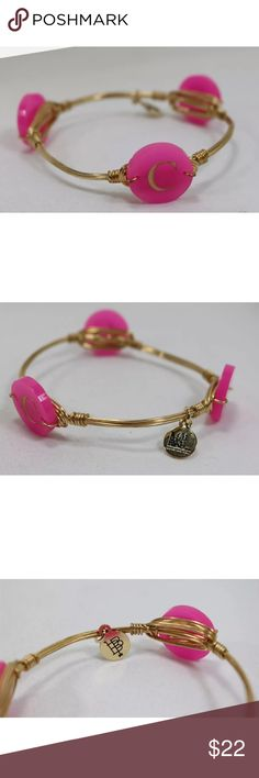 """Bourbon and bow ties """"C"""" bracelet You are looking at a Bourbon And Bowties Gold Tone Pink Bead Letter C Bangle Bracelet .  The item was a display and is in very good condition.  It is about 2.75"""" in diameter. Bourbon and Bowties Jewelry Bracelets"""