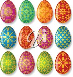 iCLIPART - Royalty Free Clip Art Illustration of a Set of Easter Eggs