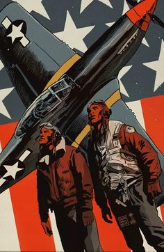 "francavillarts: "" ~~ TUSKEGEE AIRMEN ~~ Art by Francesco Francavilla First African-American military aviators in the United States Armed Forces. The name also applies to the navigators, bombardiers,..."