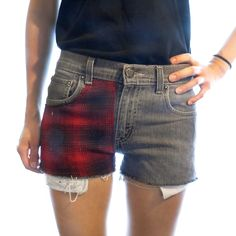Red Flannel Grunge Patch Levi's Cutoff Denim Shorts Low Rise 27W - Thumbnail 2