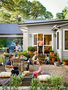 Think about maintenance and foot traffic when selecting gravel for your patio. Gravel is commonly available as pebbles or stones with 1/4-inch, 1/2-inch, and 5/8-inch diameters. Smaller pebbles and round pea gravels give way to your weight and are most comfortable to walk on. The irregular edges on larger stones lock together, which prevents rocks from spilling outside a patio's edging.