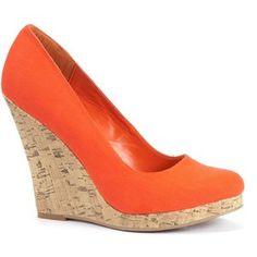 Orange Canvas Cork Wedge Shoes - Polyvore