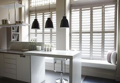 Bisque coloured Kelly Hoppen shutters in a modern kitchen Kitchen Shutters, Interior Window Shutters, House Shutters, Wooden Shutters, Indoor Shutters, Kitchen Windows, Diy Interior, Bathroom Interior Design, Interior Decorating