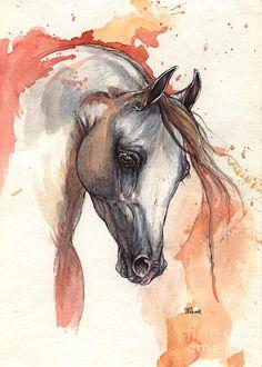 Grey Arabian Horse 04 11 2013 Painting  - Grey Arabian Horse 04 11 2013 Fine Art Print Painting by Angel Tarantella - Ink and Watercolours- found on Fine Art America