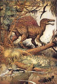 This Spinosaurus by William Stout is obviously obsolete, with its pronated hands and hind legs that are two long, but the detailed rendering of both the dinosaur and its jungle habitat is exquisite.