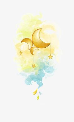 Painted Fairy Moon And Star Pattern Elements - Stars And Moon Watercolor Clipart PNG Image Fairy Drawings, Cute Drawings, Watercolor Moon, Watercolor Paintings, Dream Illustration, Star Clipart, Jolie Photo, Moon Art, Star Patterns