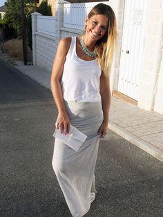 falda larga gris - Buscar con Google