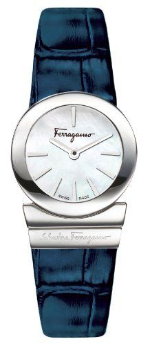 """Ferragamo Women's F70SBQ9991 SB04 Gancino Mother-of-Pearl Dial Sapphire Crystal Blue Leather Watch Ferragamo. $825.00. Water-resistant to 30 M (99 feet). Blue genuine leather band. Mother of pearl dial with silver tone indices. Anti-reflective sapphire crystal. Stainless steel curved case with """"salvatore ferragamo"""" engraved"""