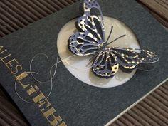 card with butterfly butterflies - MAI-KIT -Schwarz und Gold-