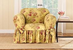 Amazon.com: Ballad Bouquet by Waverly One Piece Chair Slipcover Tea Stain…