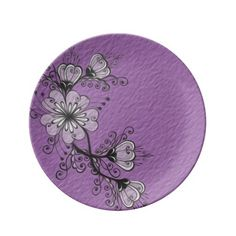Floral Black Purple Drawing Folk  motif Porcelain Plate