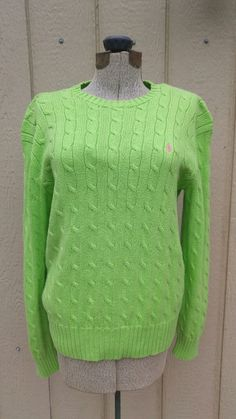 Ralph Lauren Polo Pony Logo WOMENS CREW NECK Cable Knit Green Sweater Size Large | Clothing, Shoes & Accessories, Women's Clothing, Sweaters | eBay!