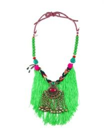 GREEN WATERFALL NECKLACE  A beautiful tribal ornate pendant hangs from a Peruvian woven cord with hanging emerald green fringing. Coloured wooden, glass and semi-precious beads are connected on each side of the piece and multi-coloured cord allows the necklace to be tied at a convenient length. Semi Precious Beads, Tassel Necklace, Necklaces, Emerald Green, Waterfall, Pendant, Bags, Beautiful, Collection
