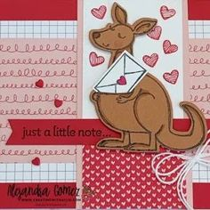 Cute Friendship handmade card using the Kangaroo & Company Bundle from Stampin' Up! Friendship Cards, Stampin Up, Invitations, Create, Holiday Decor, Paper, Handmade, Hand Made, Friend E Cards