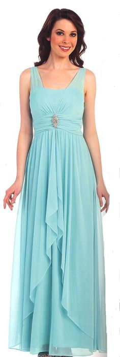 Bridesmaid Dresses Evening Dresses under $100<BR>1386<BR>Full length gown with sheer straps leading to ruched waist and sparkling accent