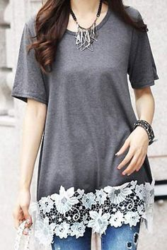 Crochet Flower Spliced Stylish Scoop Neck Short Sleeve T-Shirt For Women